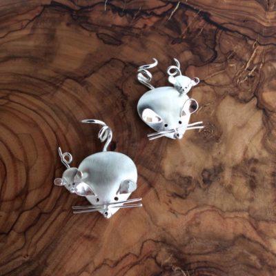 Argentium Silver Mice Pendants