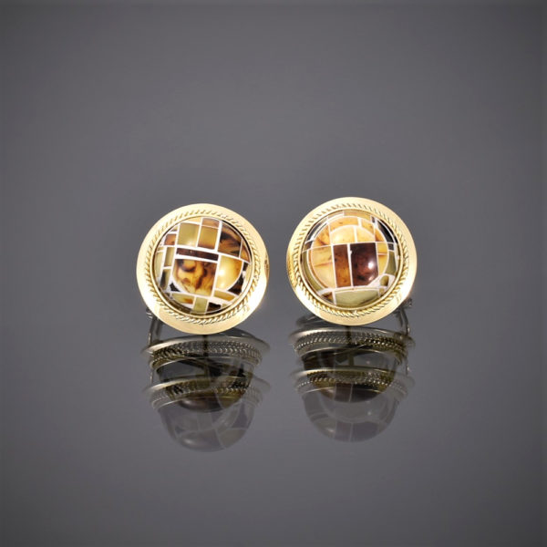 Round 18ct gold sling back earring with amber mosaic stone