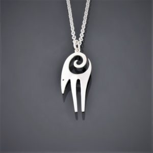 Front view of a stylised silver Cypriot mouflon pendant on silver chain